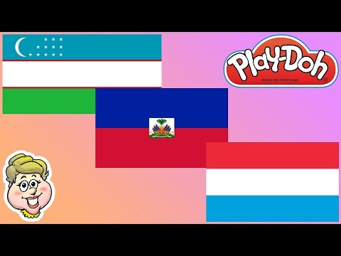 Play-Doh Flags! Uzbekistan, Haiti, and Luxembourg! EWMJ #314
