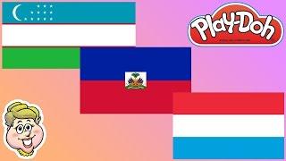 Play-Doh Flags! Uzbekistan, Haiti, and Luxembourg! EWMJ #314