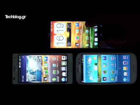 720p - Super AMOLED (Galaxy S III) vs. S-LCD 2 (One X) vs. LCD IPS (Optimus 4X HD)