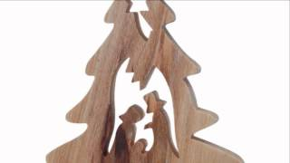 Olive Wood Christmas Tree Ornament W/ Nativity