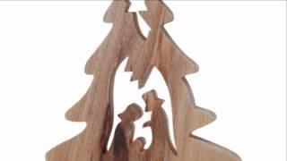 Olive Wood Christmas Tree Ornament W/ Nativity