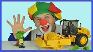 Construction Vehicles | Video for Kids | Minions | Clown Bingo and Bruder Road Roller UNBOXING