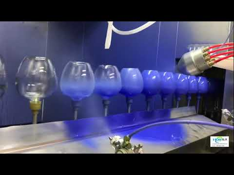 Electrostatic liquid spray glass bottle coating  system demonstration |www.hdaspraygun.com