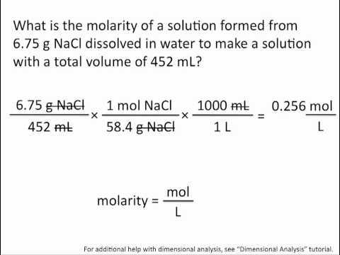 Molarity - Chemistry Tutorial - YouTube