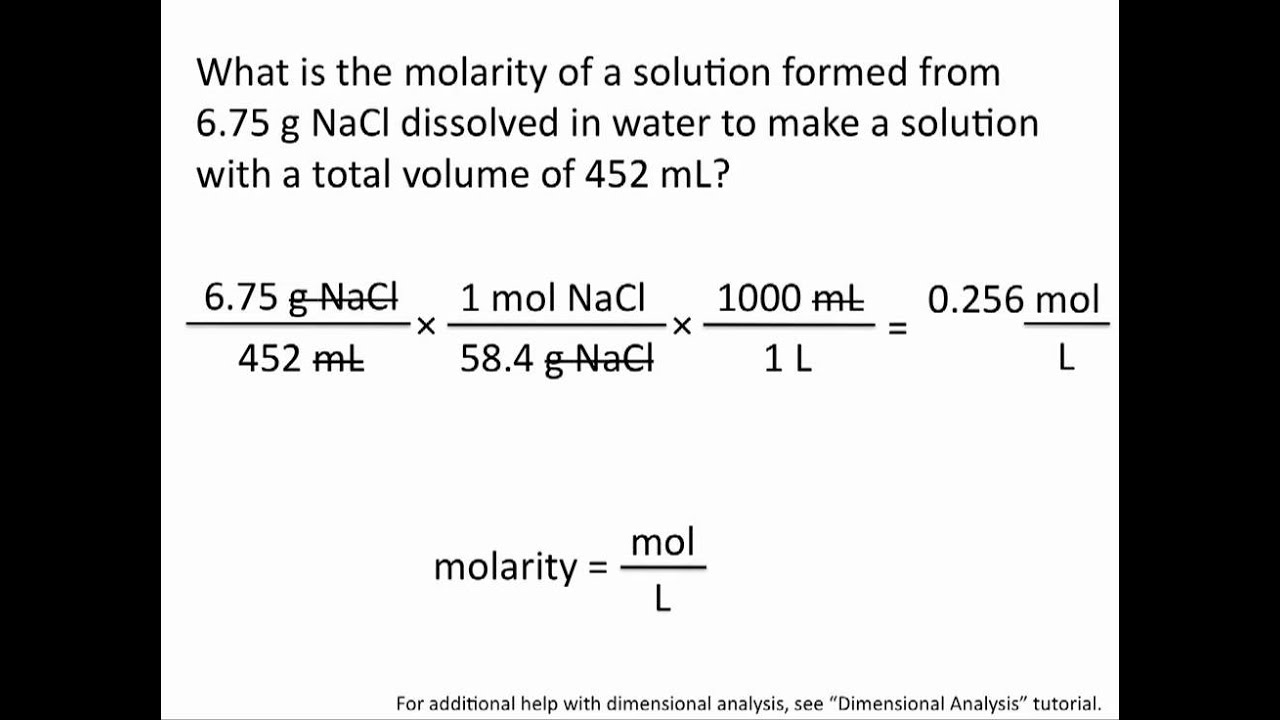 to determine the molarity of a How to calculate concentrations when making dilutions –3 l and the final volume is 0175 l use these known values to calculate the final molarity, m 2.