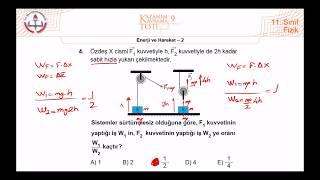 11.Sınıf MEB Fizik Kazanım Kavrama Testi-9 (Enerji ve Hareket-2) 2019-2020 +PDF