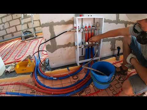 Как я осуществил опрессовку водяного пола .Теплый водяной пол своими руками.Часть 5