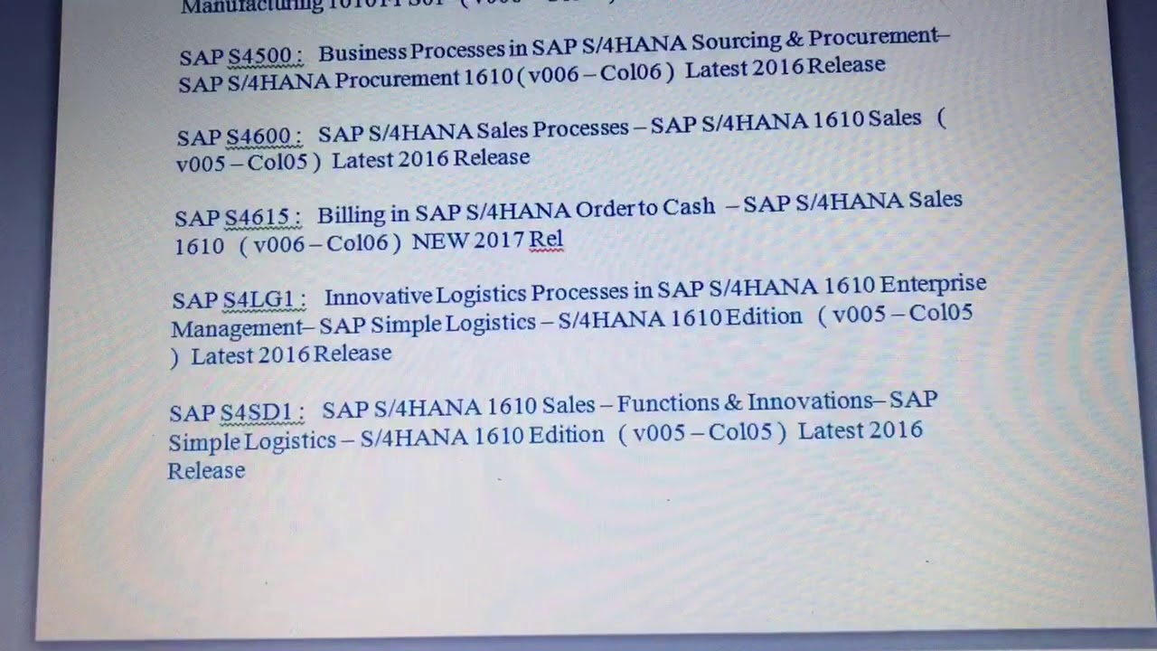 Sap S4hana Simple Logistics Certification Materials Download Youtube