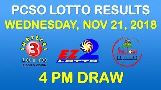 Lotto Result November 21 2018 4pm PCSO (ez2, suertres, stl)