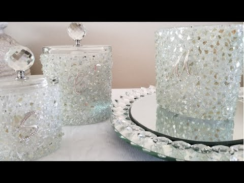 INEXPENSIVE DIY | TURNING UPCYCLED CANDLE HOLDERS INTO BLING AND GLAM MAKE UP CONTAINERS