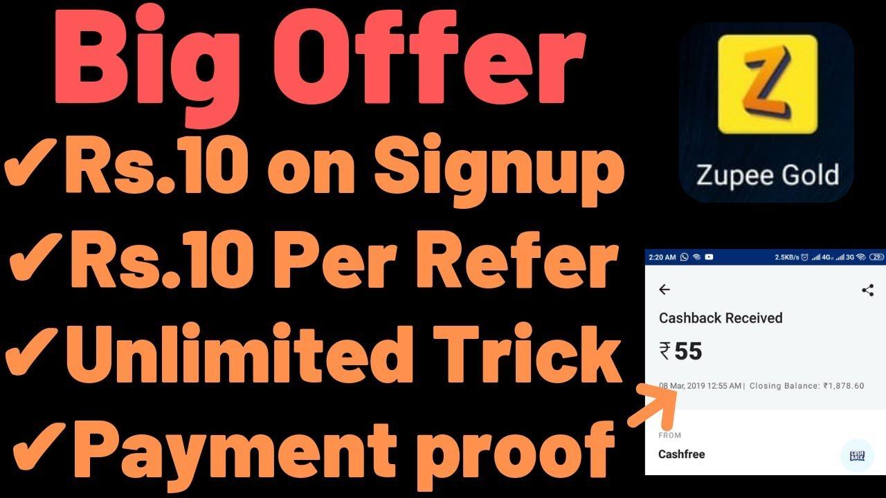 [BIG] Zupee Gold App Unlimited Trick - Rs 10 Signup + Rs 10 Per Refer  [Paytm Cash]