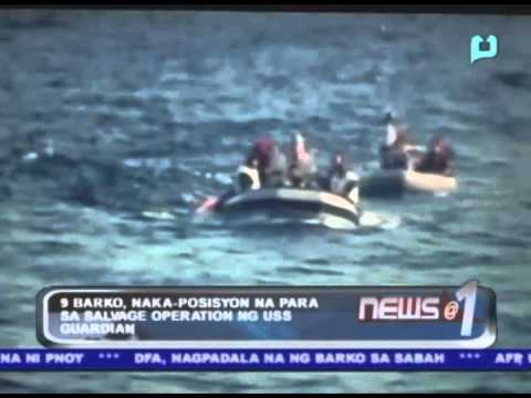 9 na barko, naka-posisyon na para sa salvage operations ng USS Guardian