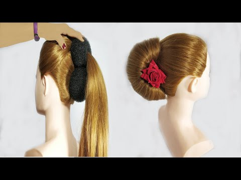 new-french-bun-hairstyle-/-french-roll-hairstyle-with-bun-/-french-roll-hairstyle-with-dount