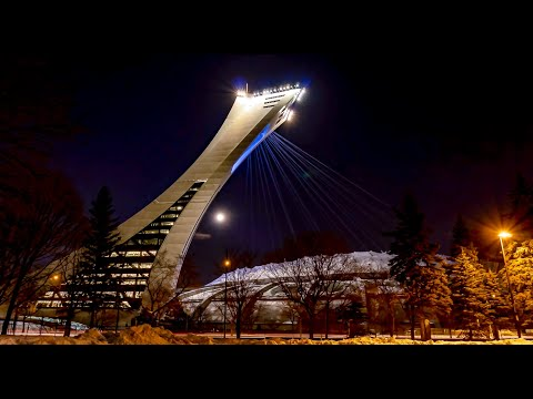 Full Moon Rising Over Montreal's Olympic Stadium