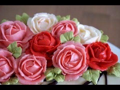 Розы из масляного крема.🌹🌹🌹Рецепт масляного крема. MK.