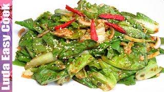 Свежий Зеленый САЛАТ ПО-КОРЕЙСКИ очень быстро и вкусно! | KOREAN LETTUCE SALAD