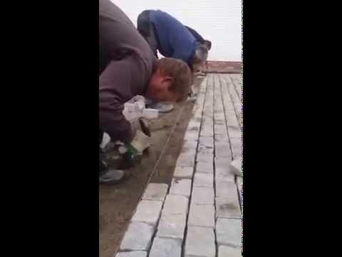 Granite Cobblestone Driveway Installation