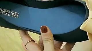 여성 오픈토 플랫 젤리 슈즈 여름 신발 리본 샌들