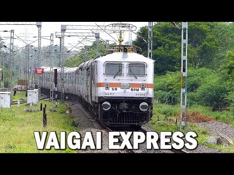 VAIGAI EXPRESS Speeds with MOST POWERFUL Locomotive : WAP-7 Engine