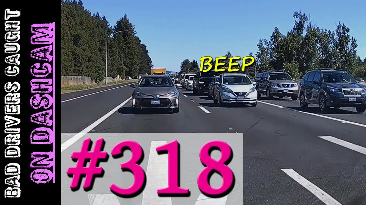 Bad Drivers Dashcam Compilation #318 - Dumb and Reckless People - Lots of Horn