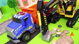 çöp kamyonu , Arabalar çizgi film, Ekskavatör ve Yeni - Itfaiyeci oyuncak - Excavator Toys