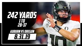 Justin Herbert Full Coverage Oregon vs Auburn | 28-37 242 Yards, 1 TD | 8.31.19