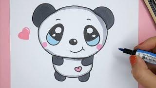easy panda drawings draw happy myhobbyclass