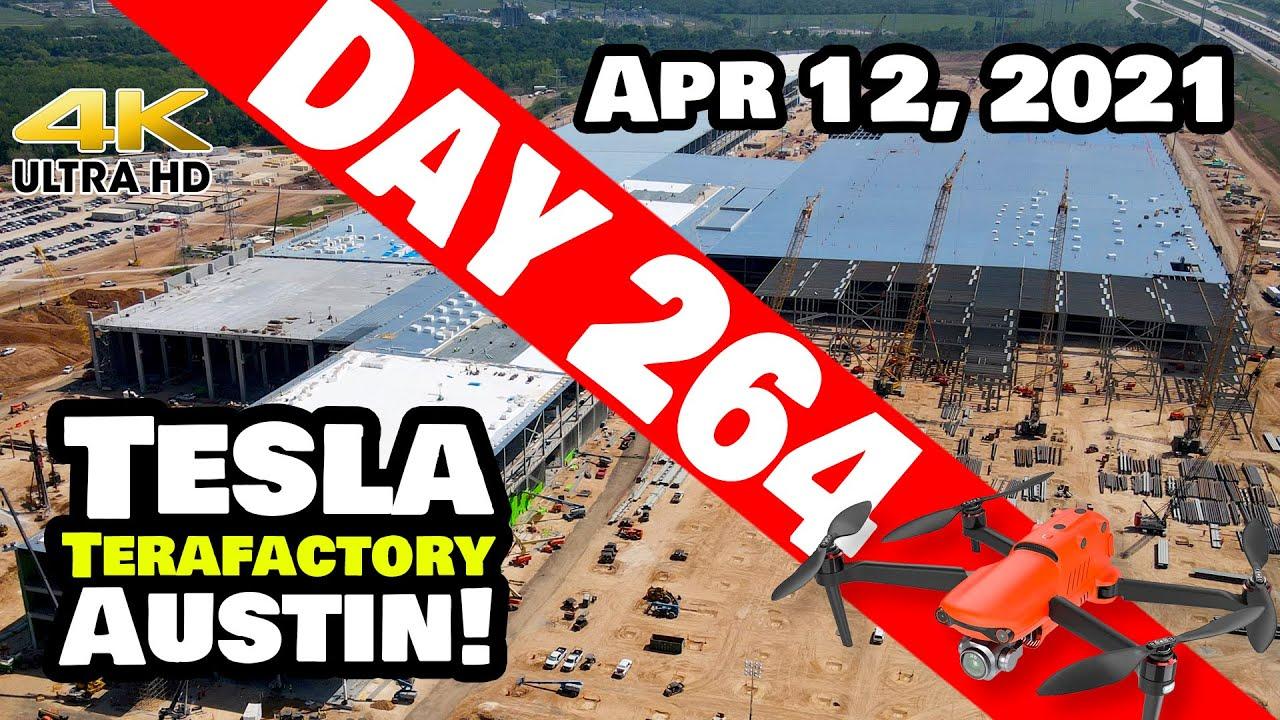 Tesla Gigafactory Austin 4K  Day 264 - 4/12/21 - Terafactory - GIGA TEXAS MEGA TIME-LAPSE EDITION!