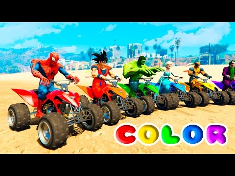 Thumbnail: FUN LEARN COLORS ATV and JETSKI w/ SUPERHEROES for Children Nursery Rhymes