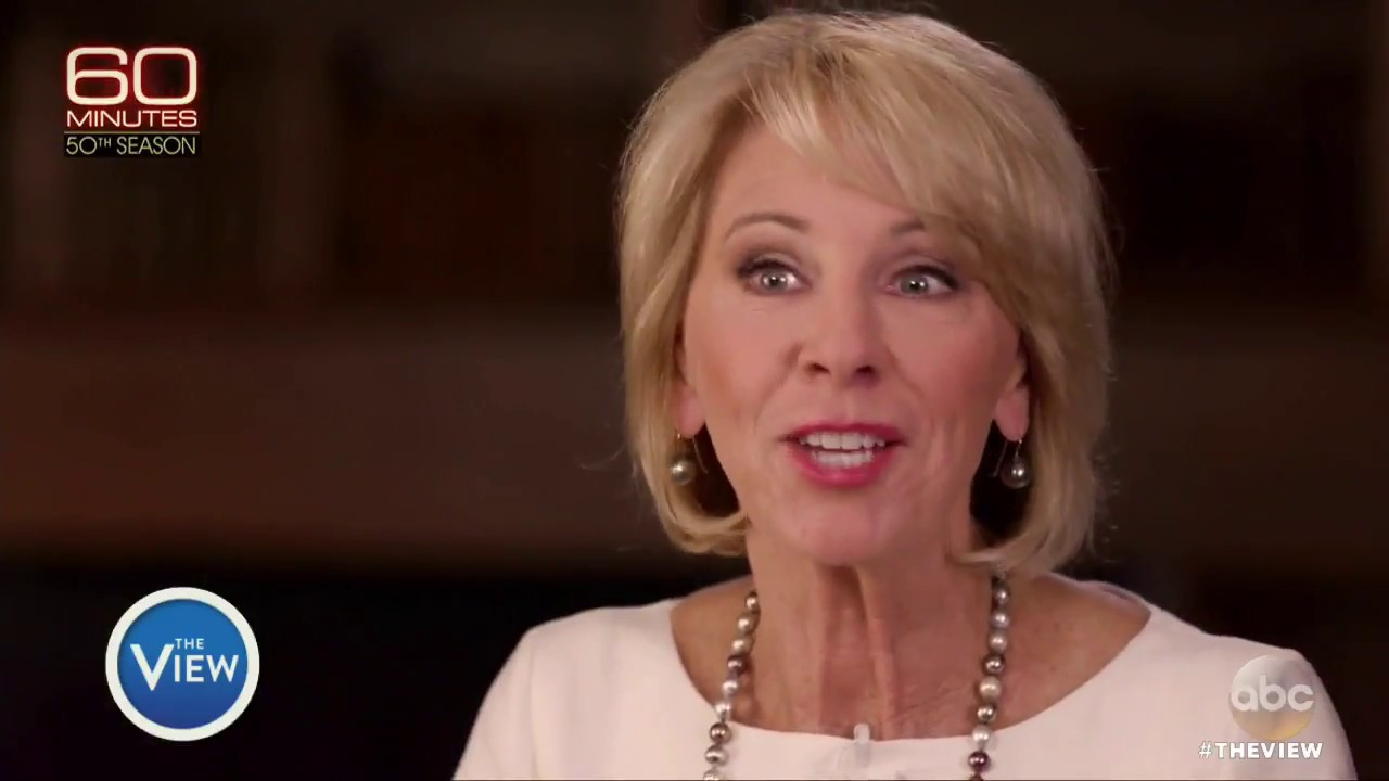 betsy devos struggles in interview on education the view youtube