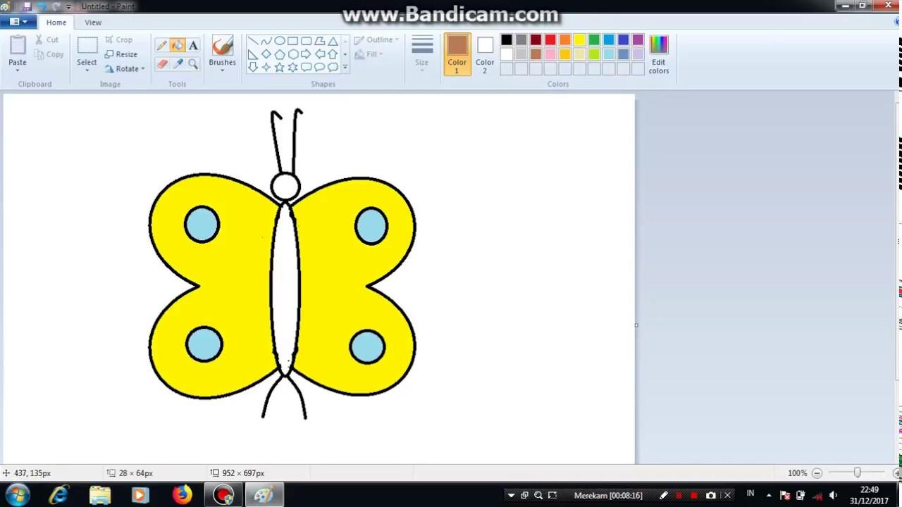 TUTORIAL menggambar kupu kupu menggunakan paint - YouTube