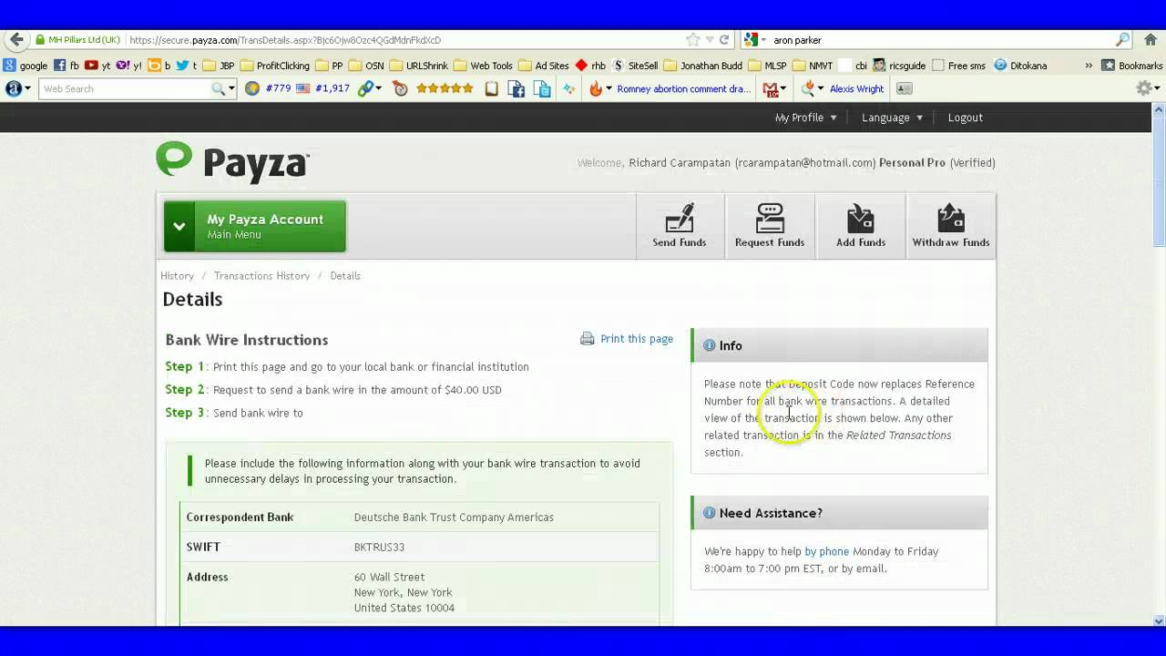 How to Cancel Payza Bank Wire Transfer Transaction - YouTube