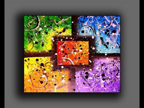 Colorful Abstract Painting | Fun With Acrylics | Creating Texture Surface With Random Tools