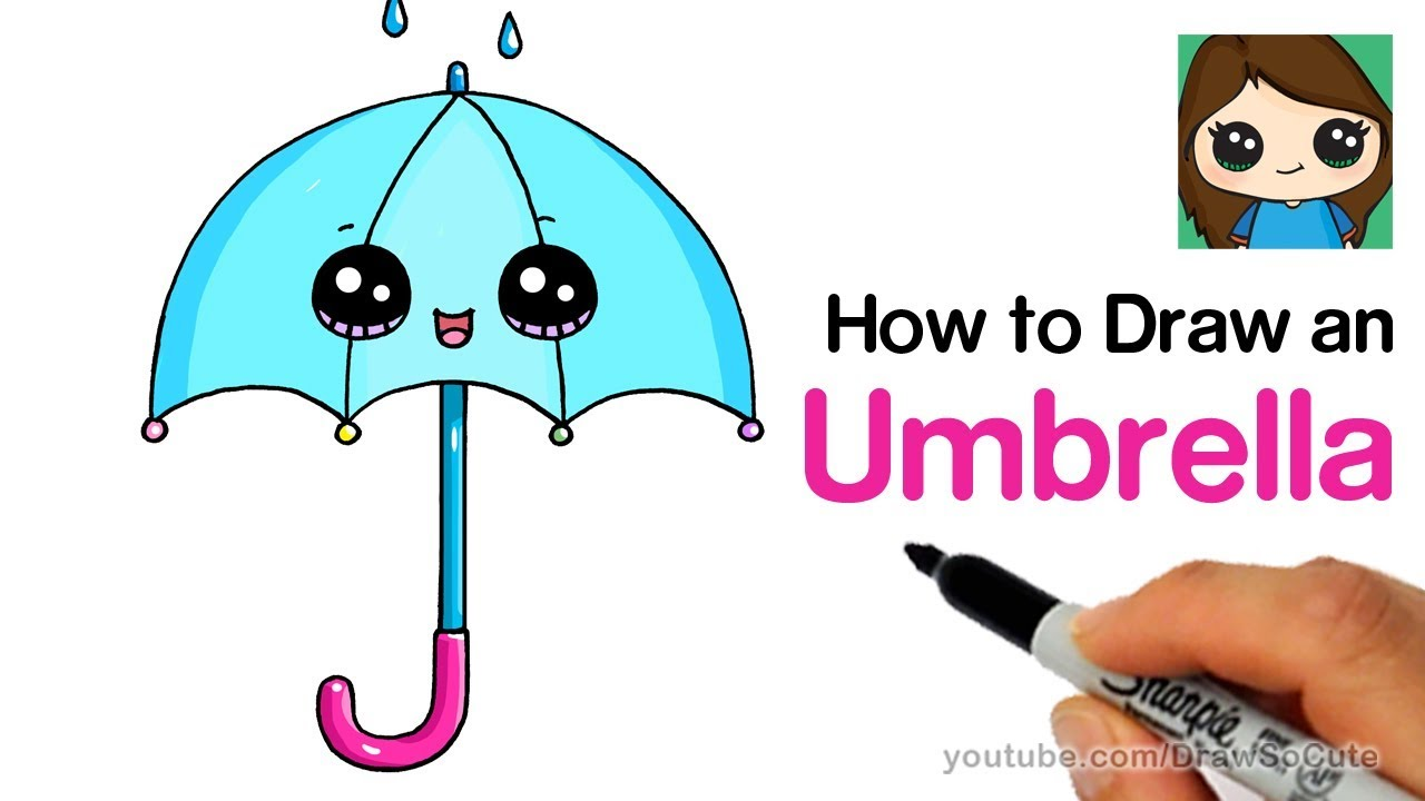 How To Draw An Umbrella Cute And Easy Youtube