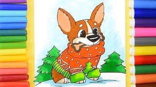 Kolay ve Serin Şirin bir Karikatür Köpek Çizmek nasıl. Çizim Noel Eşyaları