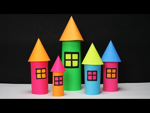 Paper house making- castle style- Paper craft- Easy Craft