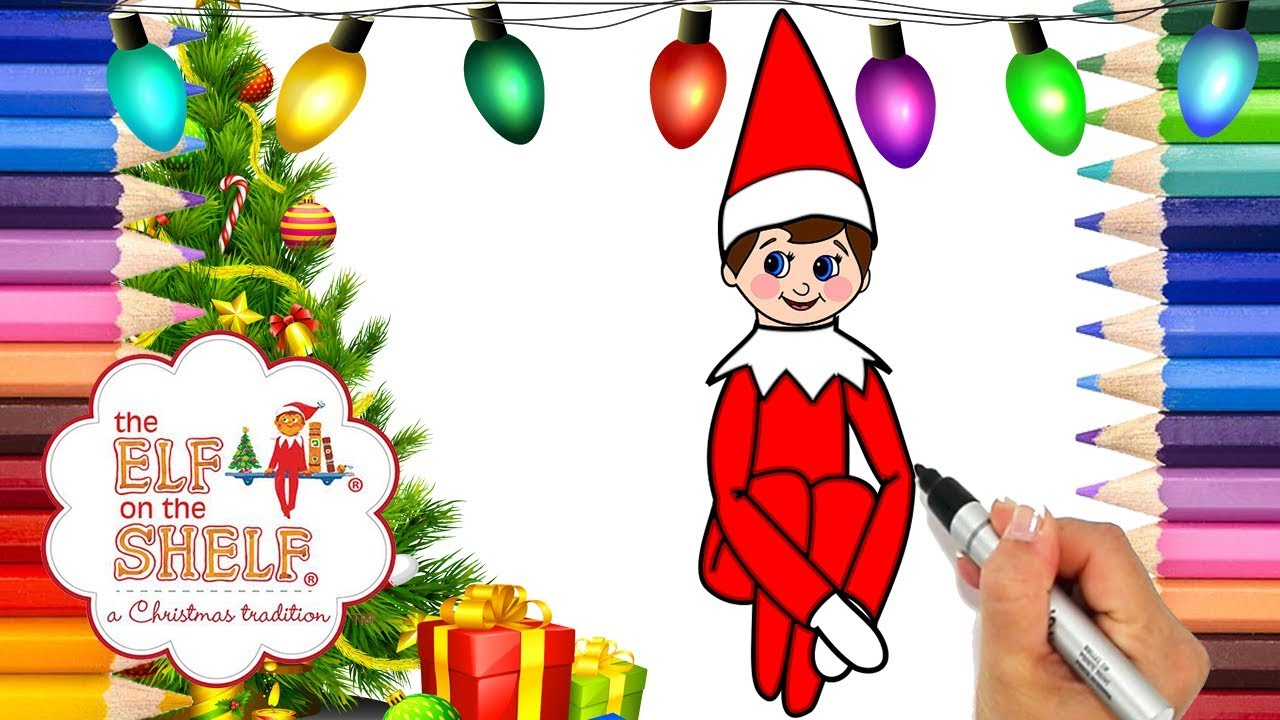 Coloring elf on the shelf printable coloring page elf on the shelf coloring book how to draw elf