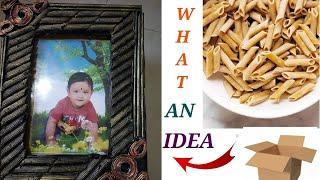 waste pasta craft /DIY photo frame/easy craft idea