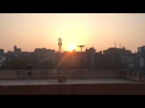 Sun rising on new year in delhi