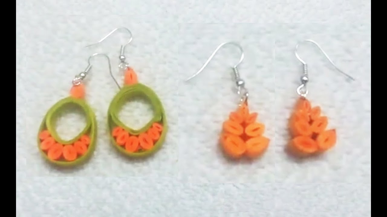 Quilling Paper Earrings latest designs making methods - handicrafts ...