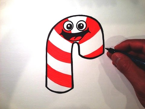 How to Draw a Cute Candy Cane Smiley Face