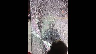 Tylers Myers breaks glass shooting at yelling Flyers fan!