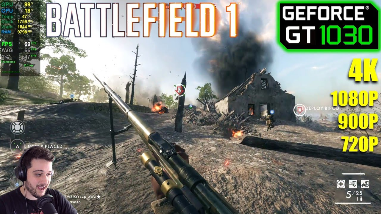 GT 1030   Battlefield 1 - Low & Medium - 720p, 900p, 1080p, 4K