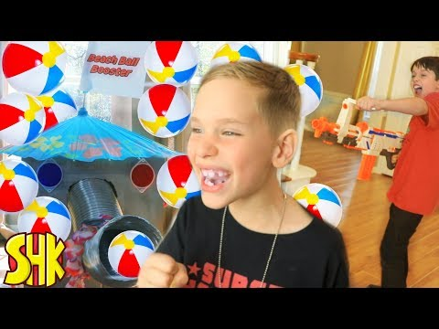 BEACH BALL BOOSTER SNEAK ATTACK! Nerf Blaster Battle w/ Ethan and Cole ExtremeToys TV