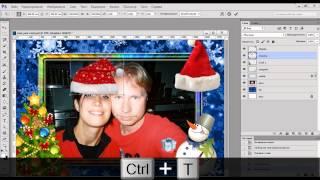 Новогодняя открытка рамка в фотошопе