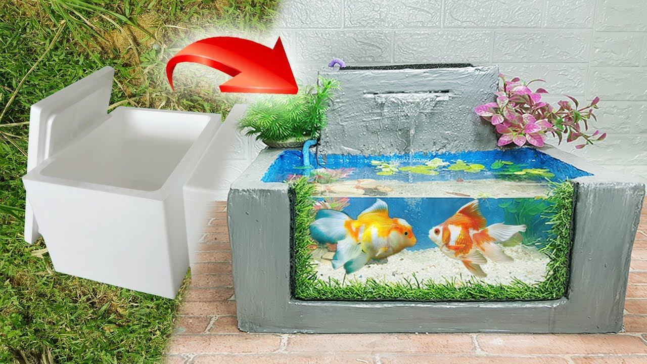 Cách làm bể cá từ thùng xốp có lọc cực đẹp | How to make an aquarium from a foam container.