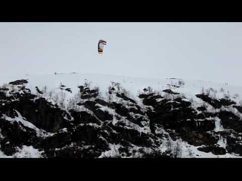 Ruben Lenten flying of a mountain at Haugastøl, Norway