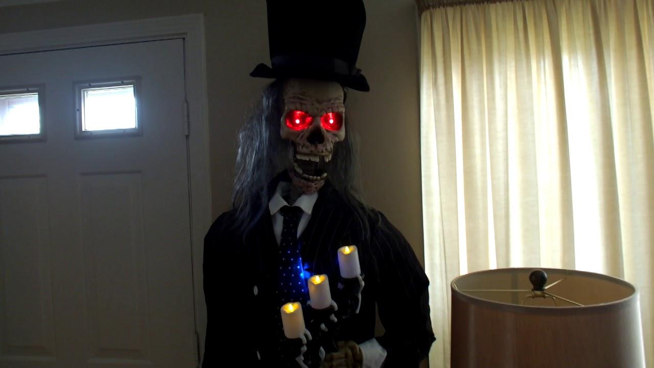 """gemmy life size 6'7"""" animated skeleton butler talking animatronic"""