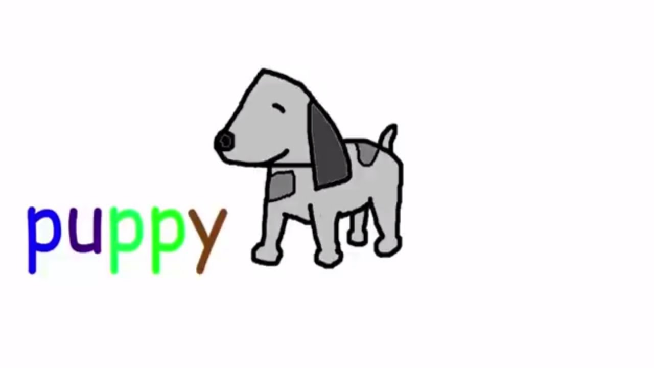 kids activities ,learn to write the number four and draw puppy