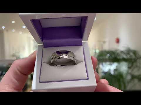 Wide Men's Platinum Heartbeat Wedding Ring